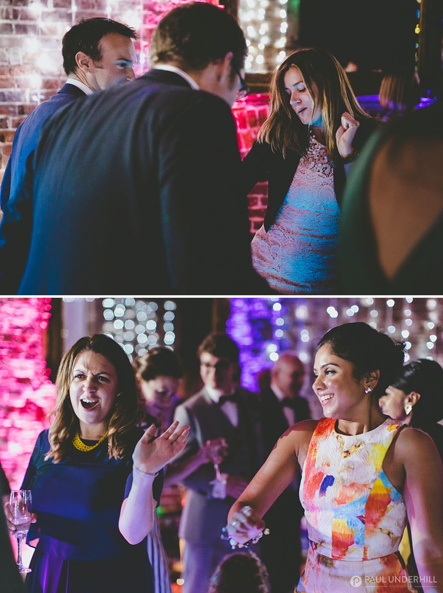 Wedding guests having fun at Highcliffe Castle