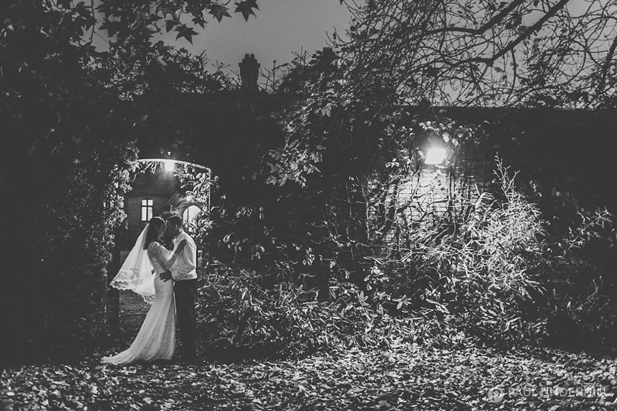 Bride and groom portrait at night New Forest
