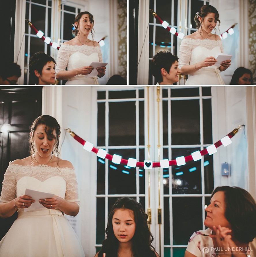 Bride makes speech at gay wedding