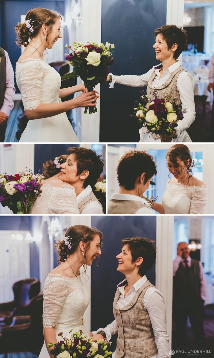 Brides first look same sex wedding