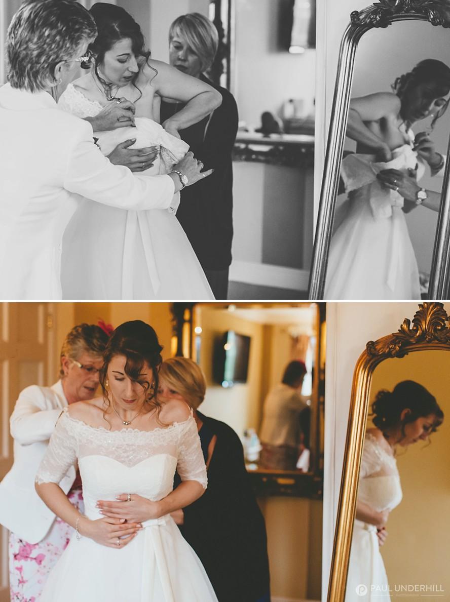 Brides getting ready same sex wedding