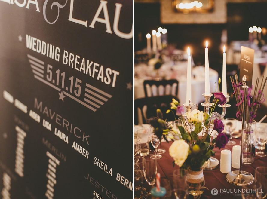 Candlelit wedding breakfast