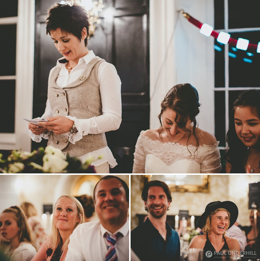 Guests laughing wedding speeches