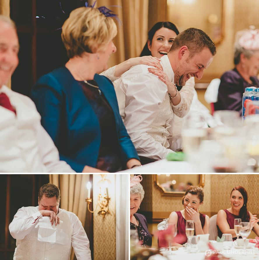 Reportage photography wedding guests laughing