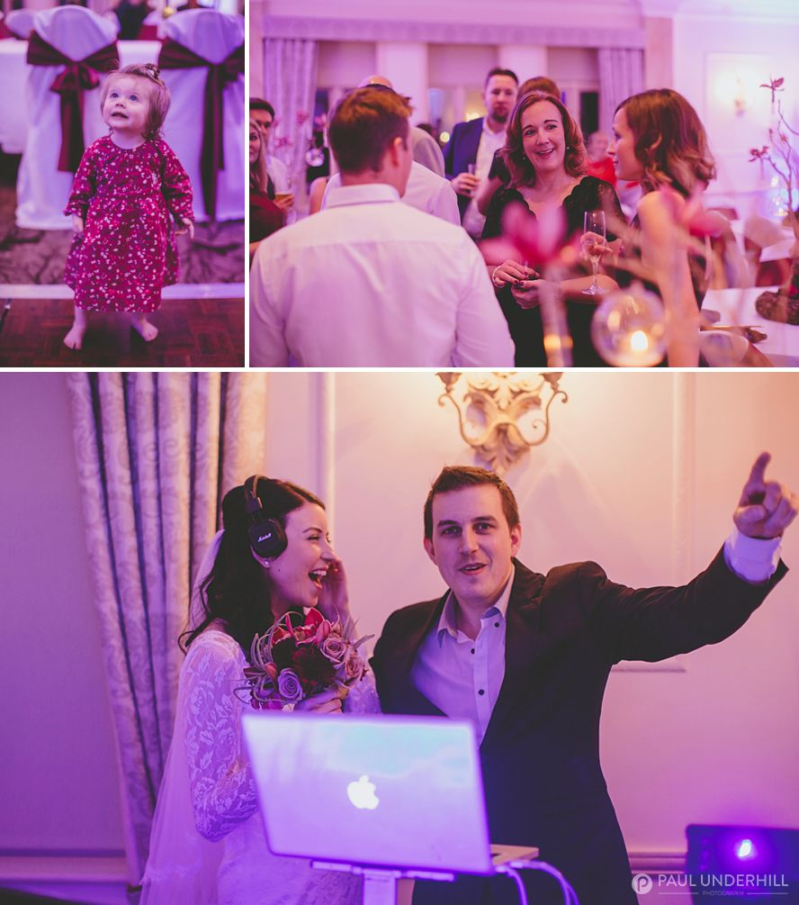 Reportage photos of wedding DJ and guests