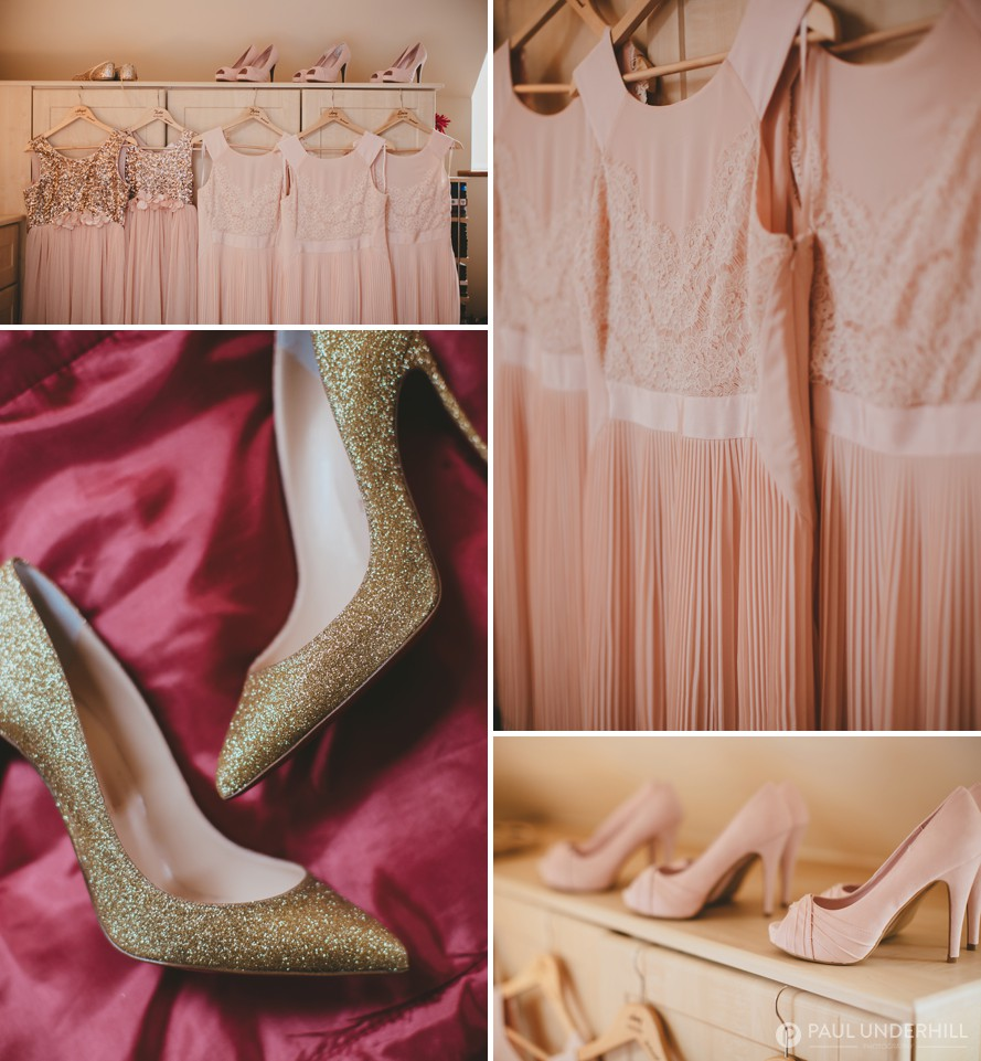 Bridesmaids shoes and dresses