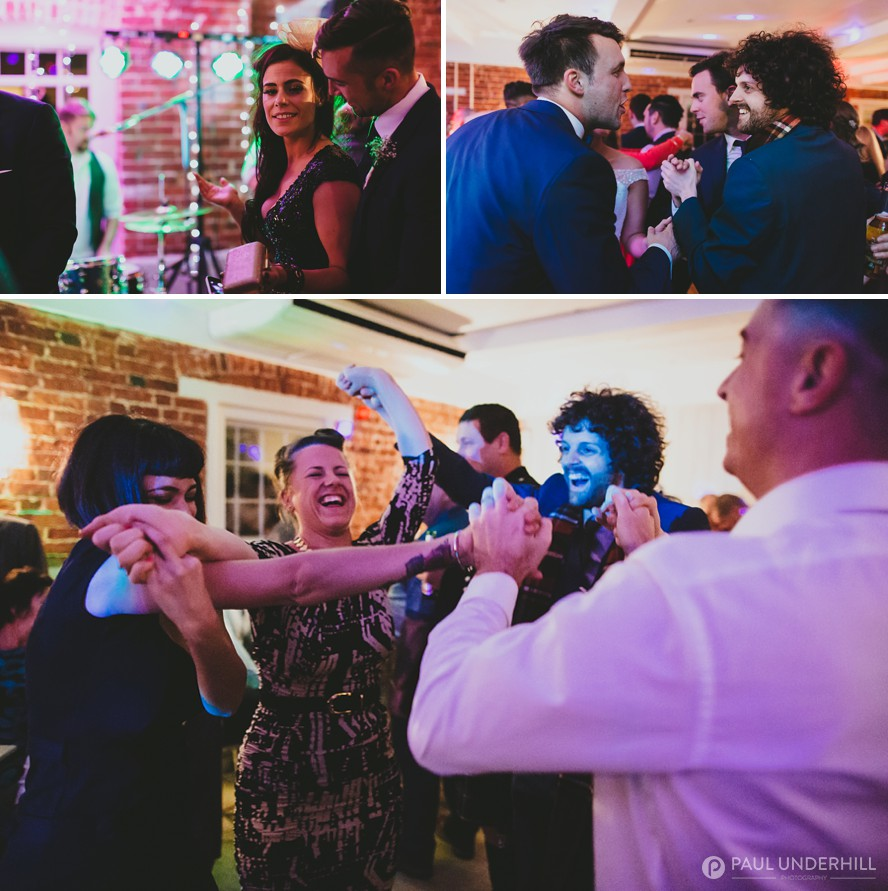 Documentary photography wedding guests dancing