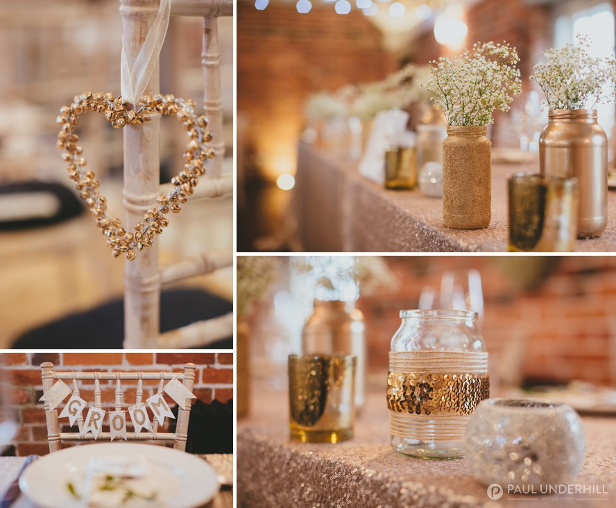 Gold and silver wedding decorations