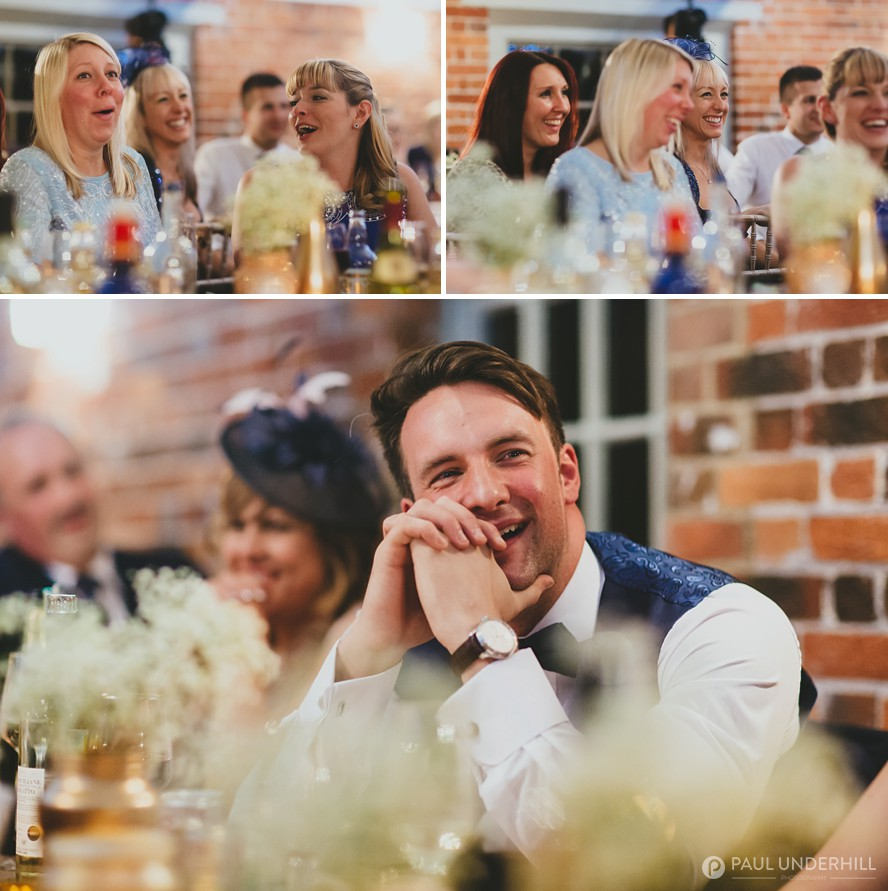 Guests reacting to wedding speech at Sopley Mill