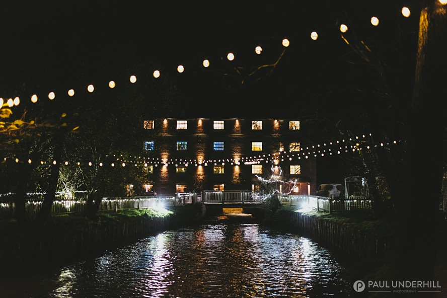Sopley Mill at night Dorset wedding venue