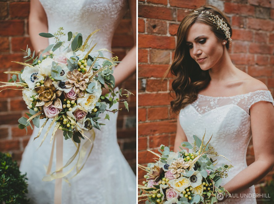 Winter wedding bouquet and bride portraits