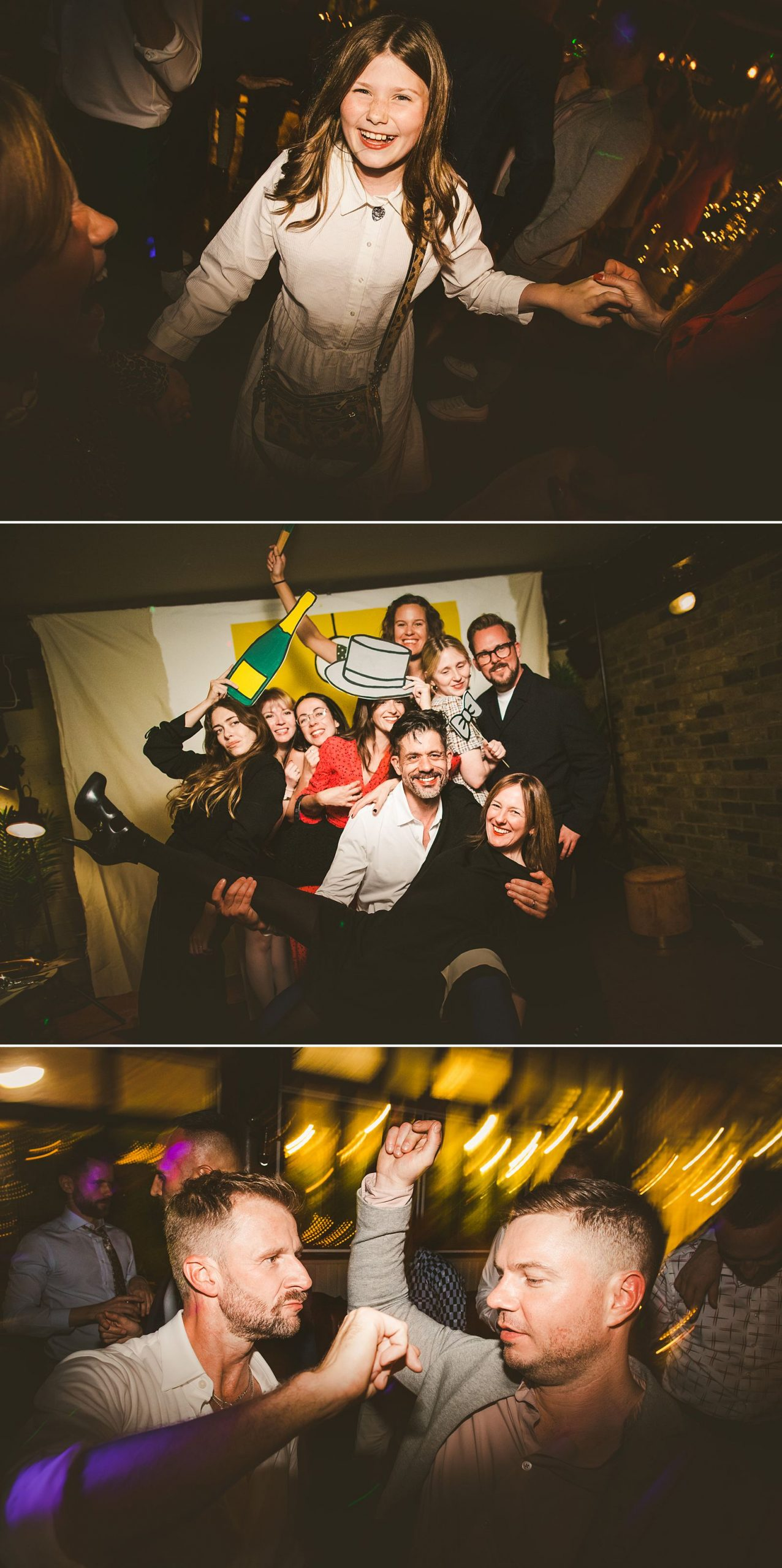 Creative wedding photography nighttime low light
