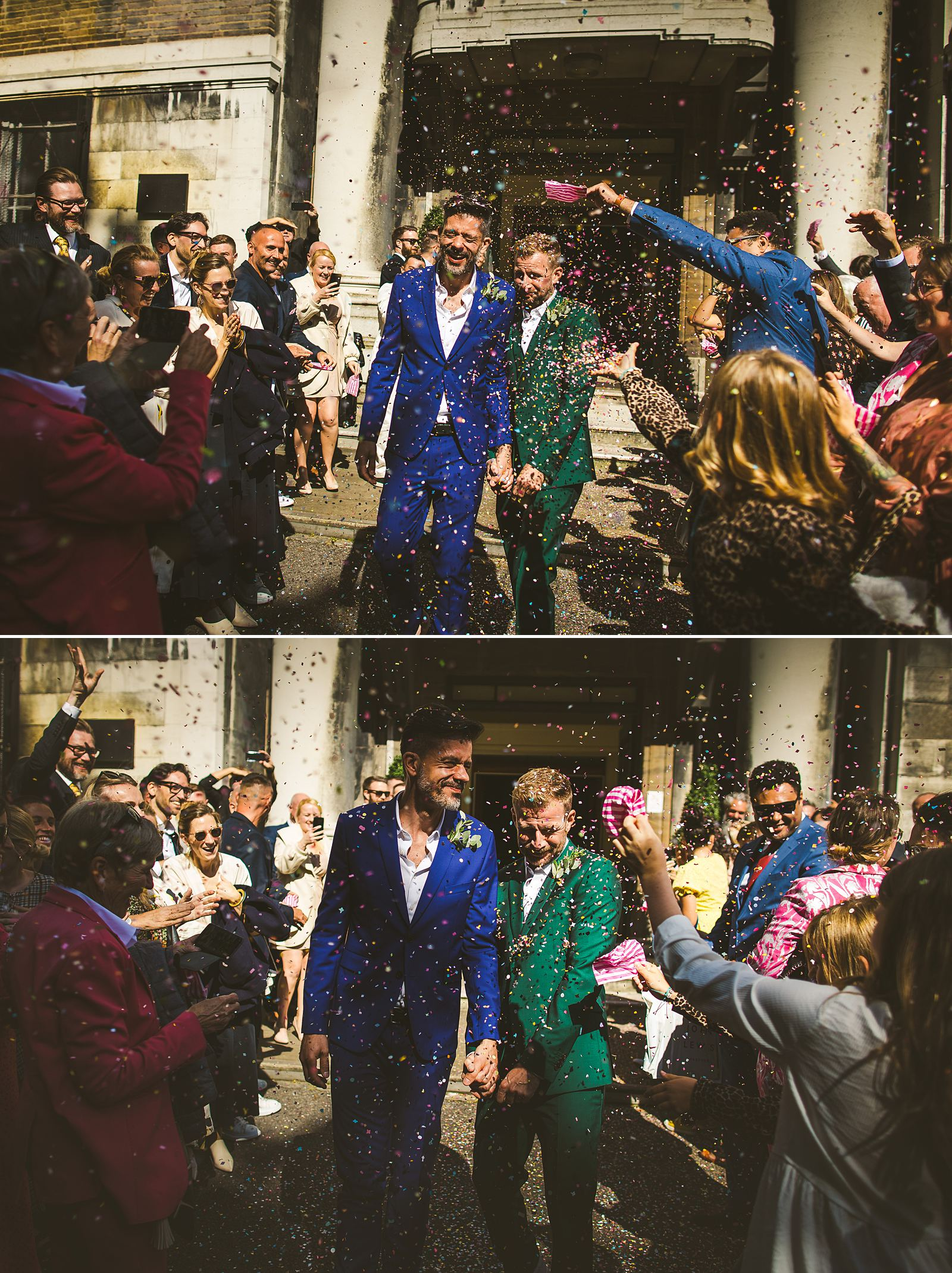 London wedding photography confetti